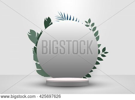 3d Realistic Cylinder Podium Minimal Scene And Circle Backdrop In White Background With Tropical Gre