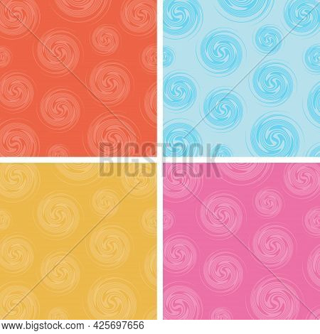 Set Of Abstract Circles Spin Pattern Multicolor Background. Vector Illustration