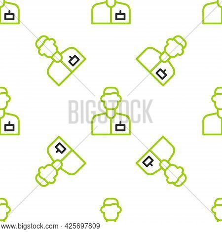 Line Analyst Engineer Icon Isolated Seamless Pattern On White Background. Vector