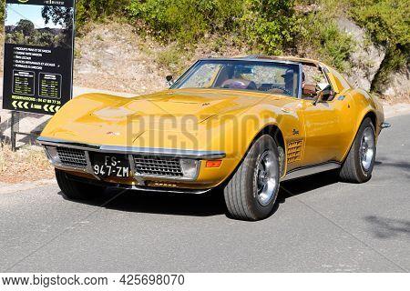 Sète , Ocitanie France  - 06 30 2021 : Chevrolet Corvette C3 Stingray Car Vintage Racing Car