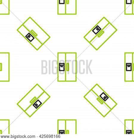 Line Refrigerator Icon Isolated Seamless Pattern On White Background. Fridge Freezer Refrigerator. H
