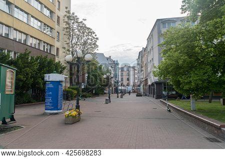 Gorzow Wielkopolski, Poland - June 1, 2021: Pedestrian Street In City Center Of Gorzow Wielkopolski.