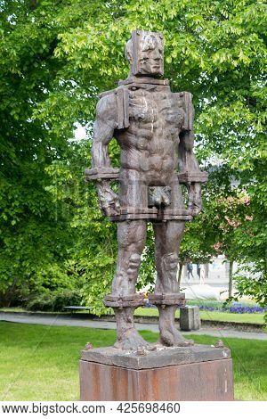 Gorzow Wielkopolski, Poland - June 1, 2021: Sfinster Sculpture Made By Zbigniew Frackiewicz. Sculptu