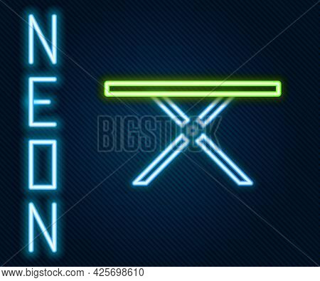 Glowing Neon Line Ironing Board Icon Isolated On Black Background. Steam Iron. Colorful Outline Conc