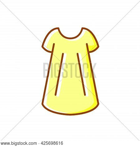 Size Free Woman Gown Outline Icon. Baby Doll Style. Homewear And Sleepwear. Color Filled Symbol. Iso
