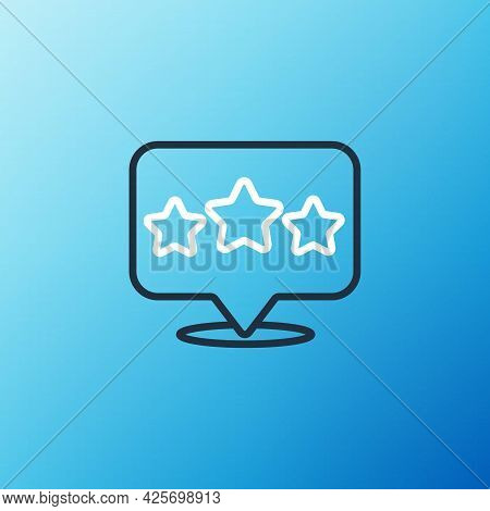 Line Five Stars Customer Product Rating Review Icon Isolated On Blue Background. Favorite, Best Rati