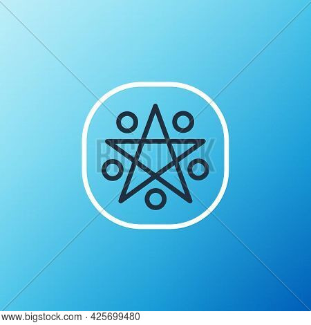 Line Pentagram In A Circle Icon Isolated On Blue Background. Magic Occult Star Symbol. Colorful Outl