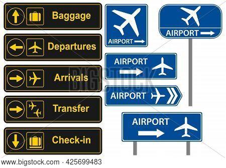 Airport Signposts. Airport Icon. Vector, Cartoon Illustration. Vector.
