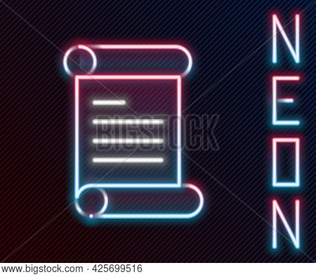 Glowing Neon Line Decree, Paper, Parchment, Scroll Icon Icon Isolated On Black Background. Colorful