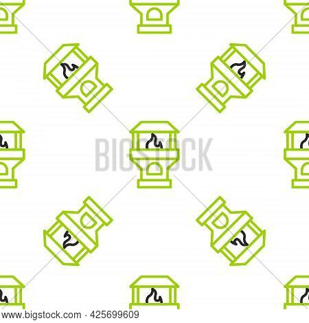 Line Brick Stove Icon Isolated Seamless Pattern On White Background. Brick Fireplace, Masonry Stove,