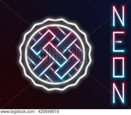 Glowing Neon Line Homemade Pie Icon Isolated On Black Background. Colorful Outline Concept. Vector