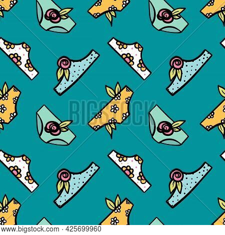 Cute Colorful Doodle Style Underwear, Panties With Flowers And Leaves Vector Seamless Pattern Backgr