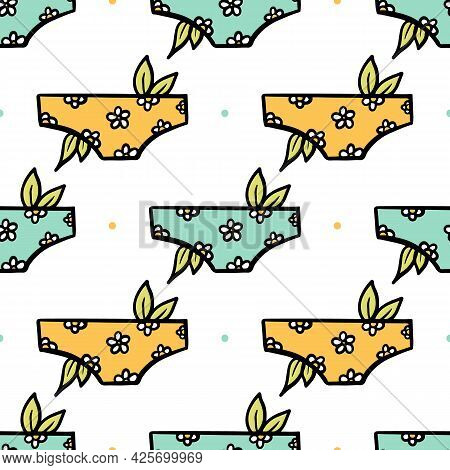 Cute Cartoon Style Women's Underwear, Panties With Floral Design And Dots Vector Seamless Pattern Ba