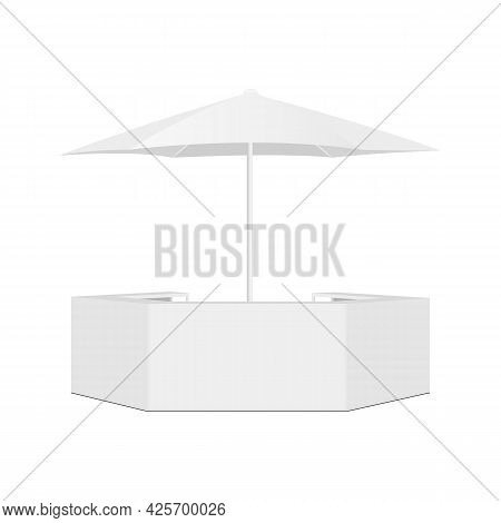 Outdoor Counter Bar And Parasol Isolated On White Background, Front View. Vector Illustration