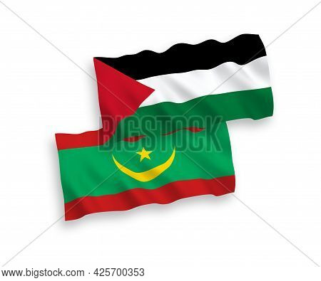 National Fabric Wave Flags Of Islamic Republic Of Mauritania And Palestine Isolated On White Backgro