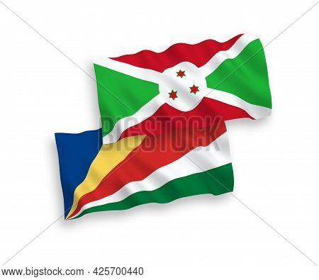 National Fabric Wave Flags Of Burundi And Seychelles Isolated On White Background. 1 To 2 Proportion