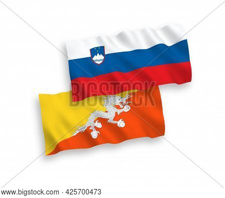 National Fabric Wave Flags Of Slovenia And Kingdom Of Bhutan Isolated On White Background. 1 To 2 Pr