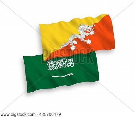 National Fabric Wave Flags Of Saudi Arabia And Kingdom Of Bhutan Isolated On White Background. 1 To