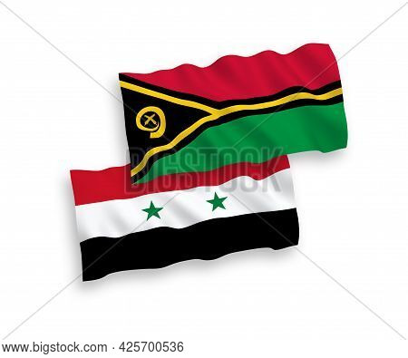National Fabric Wave Flags Of Republic Of Vanuatu And Syria Isolated On White Background. 1 To 2 Pro