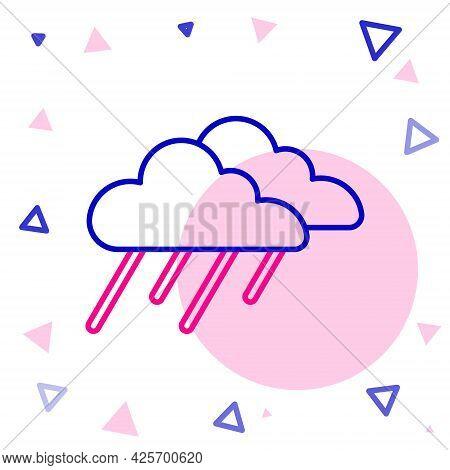 Line Cloud With Rain Icon Isolated On White Background. Rain Cloud Precipitation With Rain Drops. Co