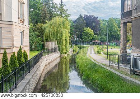 Gorzow Wielkopolski, Poland - June 1, 2021: Klodawka River At Summer Time.