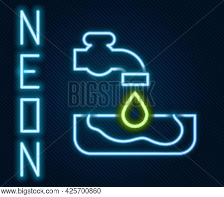 Glowing Neon Line Water Problem Icon Isolated On Black Background. Poor Countries Environmental Publ