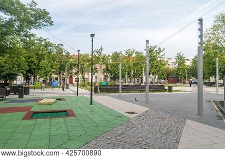 Gorzow Wielkopolski, Poland - June 1, 2021: Playground At Kwadrat Square At Gorzow Wielkopolski.