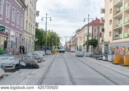 Gorzow Wielkopolski, Poland - June 1, 2021: Renovation Of The Road In The City Center.