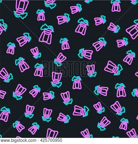 Line Potted House Plant On Stand Icon Isolated Seamless Pattern On Black Background. Plant Growing I