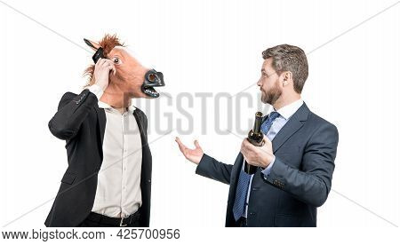 Corporate Communication. Man Wearing Horse Head Talk On Cellphone. Business Communication