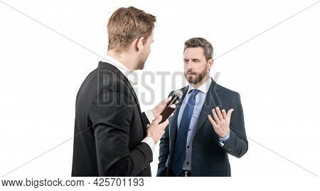 Media Reporter Journalist Do Journalistic Interview With Man Businessman Or Politician, Interviewing