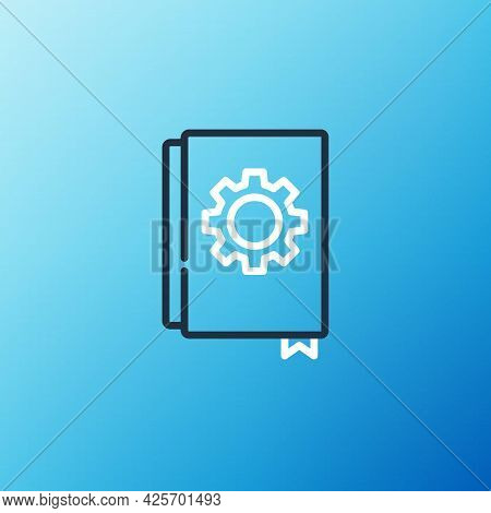 Line User Manual Icon Isolated On Blue Background. User Guide Book. Instruction Sign. Read Before Us