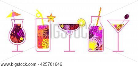 Summer Alcoholic And Non-alcoholic Drinks. Glasses With Drinks Stylized As Filled With Tropical Leav