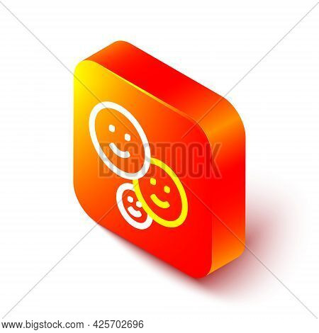 Isometric Line Happy Friendship Day Icon Isolated On White Background. Everlasting Friendship Concep