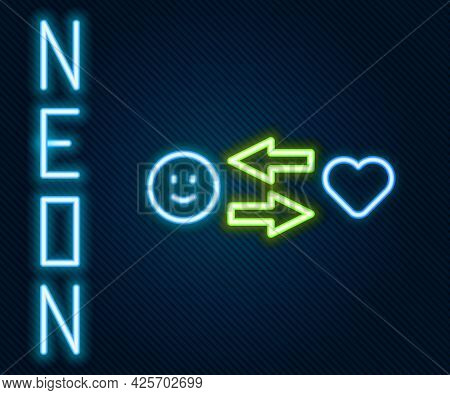 Glowing Neon Line Romantic Relationship Icon Isolated On Black Background. Romantic Relationship Or