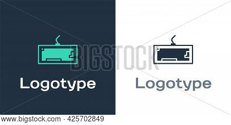 Logotype Computer Keyboard Icon Isolated On White Background. Pc Component Sign. Logo Design Templat