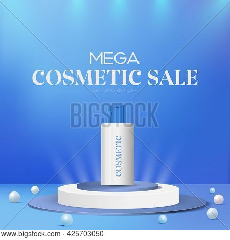 Cosmetic Products Sale Offer Stage Podium With Lighting, 3d Elegant Cosmetic Products Background Pre