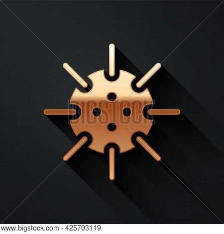 Gold Naval Mine Icon Isolated On Black Background. Sea Bomb. Long Shadow Style. Vector