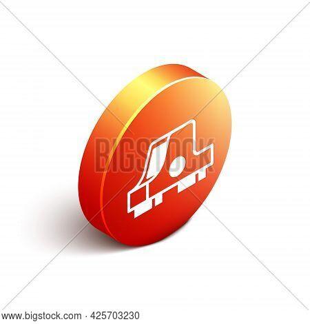 Isometric Collimator Sight Icon Isolated On White Background. Sniper Scope Crosshairs. Orange Circle