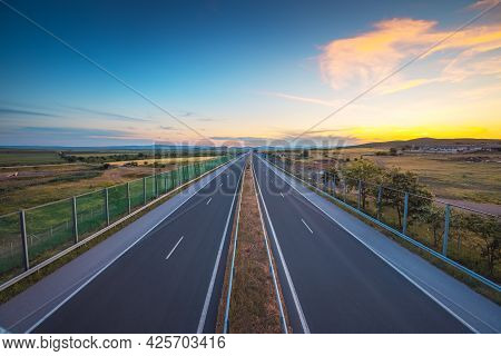 Driving On Open Road, Highway Freeway Road At Beautiful Sunny Day.