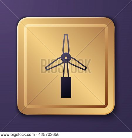 Purple Wind Turbine Icon Isolated On Purple Background. Wind Generator Sign. Windmill For Electric P
