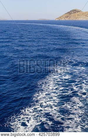 Part Of Cruise Liner.wake In The Ocean Made By Cruise Ship.water Wake Of Cruise Liner.