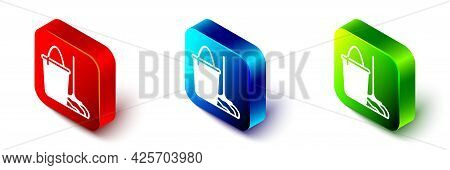 Isometric Mop And Bucket Icon Isolated On White Background. Cleaning Service Concept. Red, Blue And