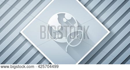 Paper Cut Earth Globe And Leaf Icon Isolated Paper Cut Background. World Or Earth Sign. Geometric Sh