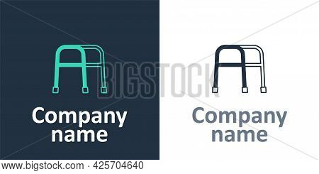 Logotype Walker For Disabled Person Icon Isolated On White Background. Logo Design Template Element.