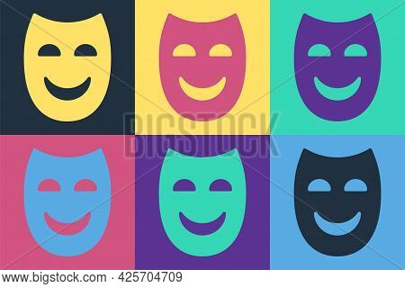 Pop Art Comedy Theatrical Mask Icon Isolated On Color Background. Vector