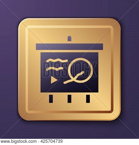Purple Scenario On Chalkboard Icon Isolated On Purple Background. Script Reading Concept For Art Pro