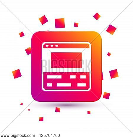 White Video Recorder Or Editor Software On Laptop Icon Isolated On White Background. Video Editing O