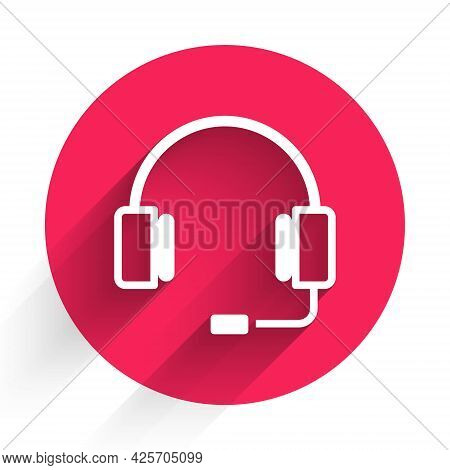 White Headphones Icon Isolated With Long Shadow. Earphones. Concept For Listening To Music, Service,