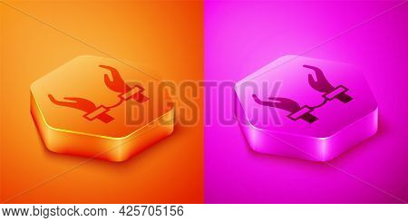 Isometric Handcuffs On Hands Of Criminal Man Icon Isolated On Orange And Pink Background. Arrested M